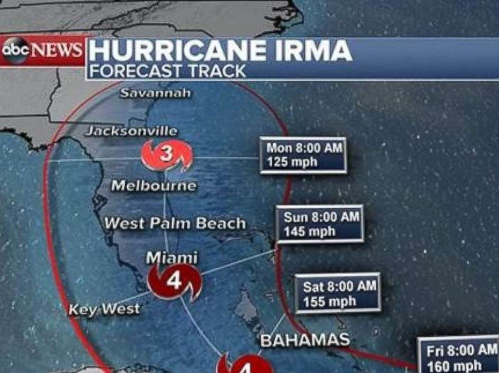 PHOTO: Hurricane Irma forecast track as of 2 p.m. Sept. 6, 2017.