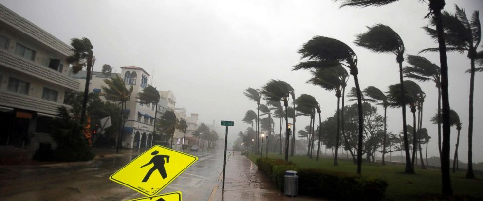 PHOTO: Heavy wind iblows along Ocean Drive in South Beach as Hurricane Irma arrives in Miami Beach, Florida, Sept. 10, 2017.