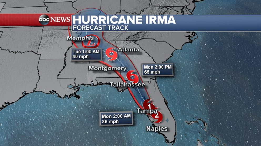 PHOTO: A map released late on Sept. 10, 2017 shows the forecast track for Hurricane Irma.