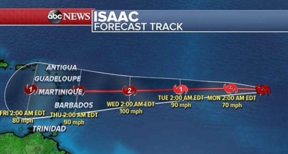 PHOTO: Tropical Storm Isaac could be a hurricane as it continues to move west toward the Caribbean.
