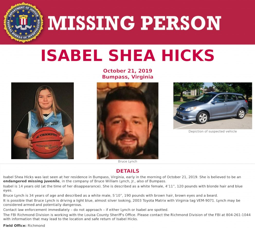 PHOTO: A missing poster for Isabel Hicks.