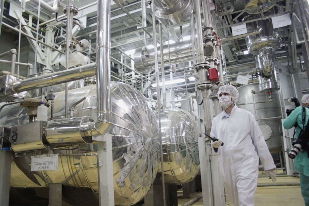 PHOTO: A worker walks inside of an uranium conversion facility, March 30, 2005, just outside the city of Isfahan, about 254 miles south of Tehran, Iran.