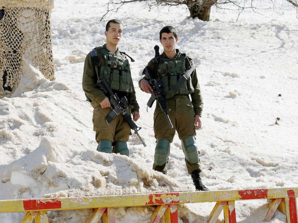 PHOTO: Israeli soldiers stand guard at the Mount Hermon resort, located at the intersection of the Israeli-Lebanese-Syrian border in the north of the Golan Heights, Jan. 21, 2019.