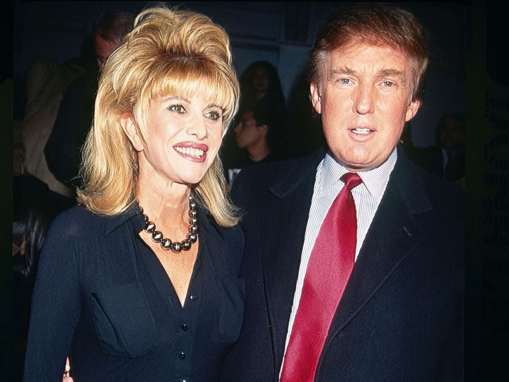 PHOTO: Ivana and Donald Trump pose together at the Betsey Johnson fashion show in Bryant Park, New York City, circa 1997.