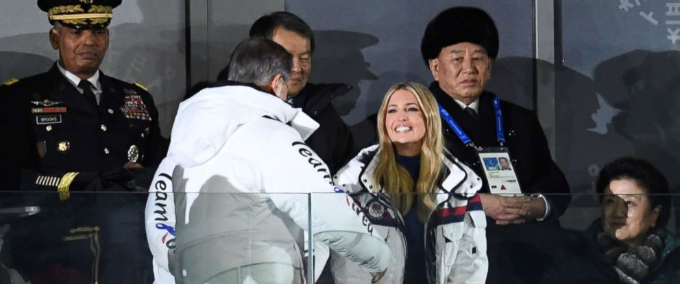 PHOTO: South Koreas President Moon Jae-in greets Ivanka Trump as North Korean General Kim Yong Chol, rear right, looks on during the closing ceremony of the Pyeongchang 2018 Winter Olympic Games, Feb. 25, 2018.