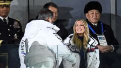 'PHOTO: South Korea's President Moon Jae-in greets Ivanka Trump as North Korean General Kim Yong Chol, rear right, looks on during the closing ceremony of the Pyeongchang 2018 Winter Olympic Games, Feb. 25, 2018.' from the web at 'https://s.abcnews.com/images/US/ivanka-north-korea-01-gty-jrl-180225_16x9t_240.jpg'