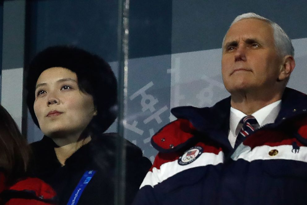 Pence and North Koreas Kim Yo Jong the sister to North Korean leader Kim Jong-Un attend the opening ceremony of the Pyeongchang 2018 Winter Olympic Games Feb. 9 2018