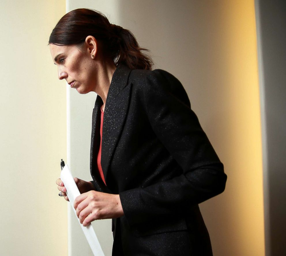 PHOTO: Prime Minister Jacinda Ardern exits after a press conference at Parliament, March 15, 2019, in Wellington, New Zealand.