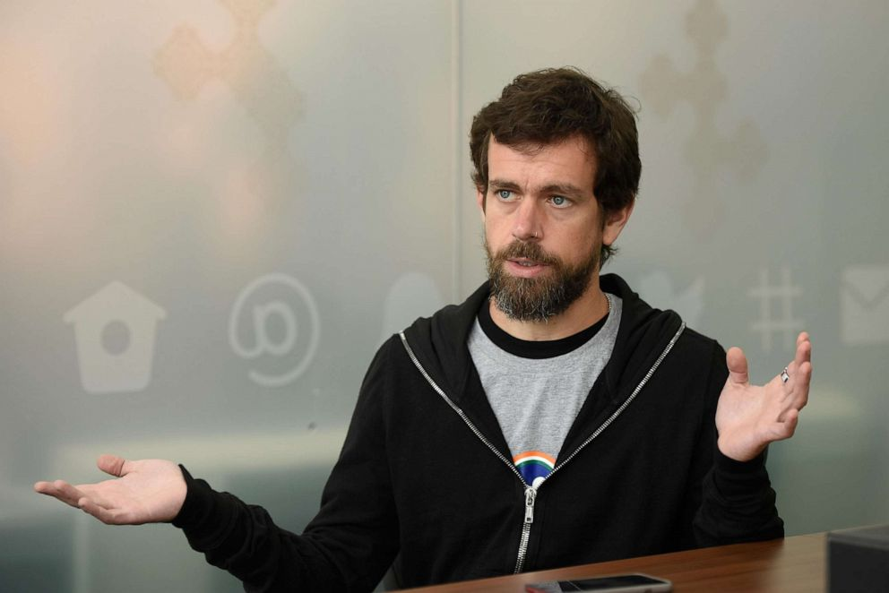 PHOTO: CEO of Square and Twitter, Jack Dorsey, speaks during an interview in New Delhi, India, Nov. 14, 2018.