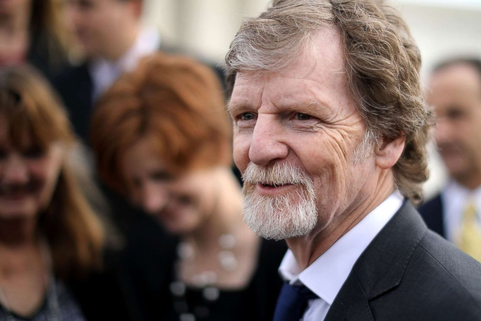 PHOTO: Jack Phillips talks with journalists in front of the Supreme Court after the court heard the case Masterpiece Cakeshop v. Colorado Civil Rights Commission, Dec. 5, 2017, in Washington, DC.