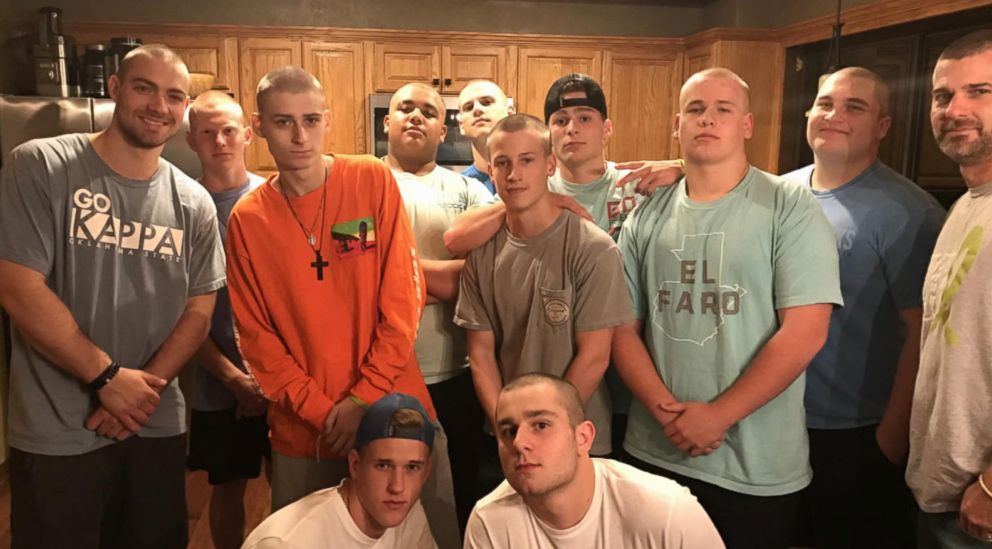 PHOTO: While Jackson Lilly was undergoing surgeries, chemotherapy and radiation in his battle against cancer, many of his teammates shaved their heads in solidarity.