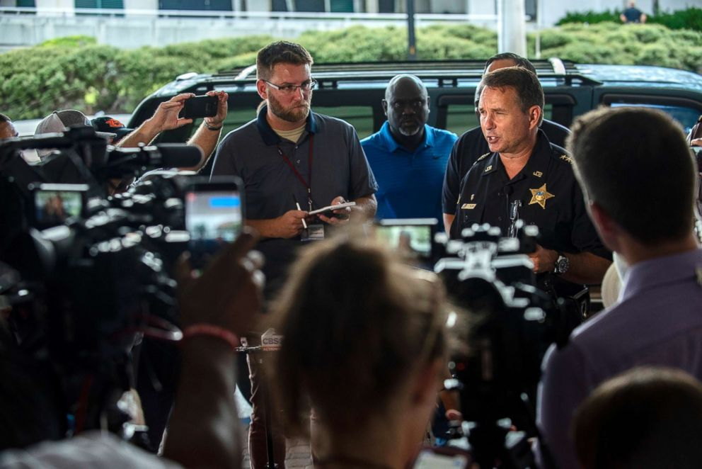 PHOTO: Jacksonville Sheriff Mike Williams, right, holds a news conference on Aug. 26, 2018, in Jacksonville, Fla.