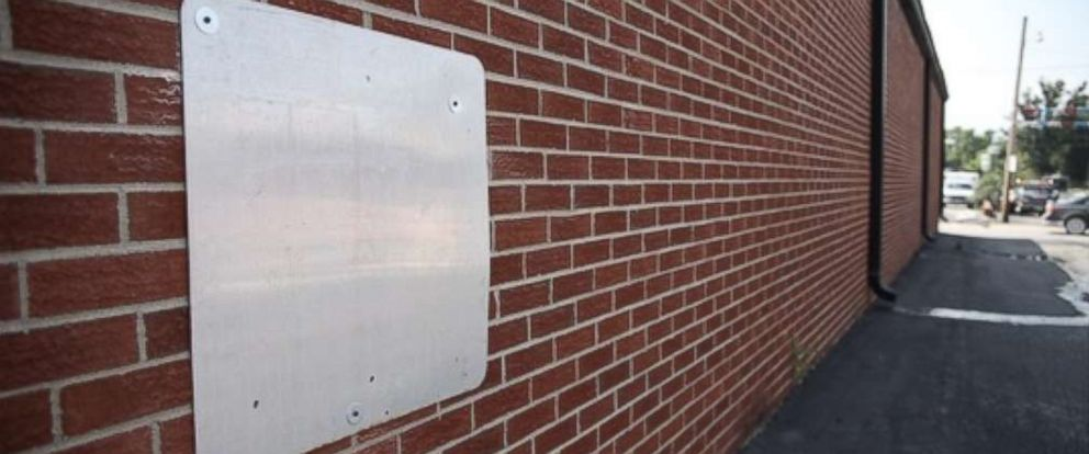 A metal panel was placed over a hole where three inmates escaped from White County Jail in Carmi, Ill., on June 16, 2018.