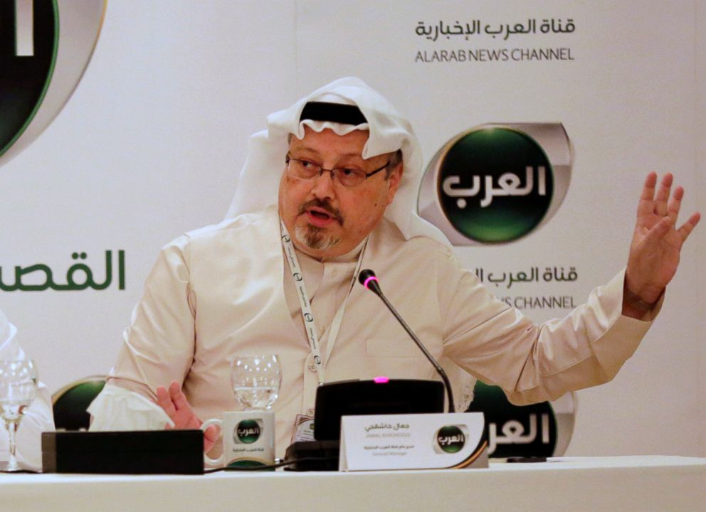 Jamal Khashoggi, then general manager of a new Arabic news channel speaks during a press conference, in Manama, Bahrain, Dec. 15, 2014.