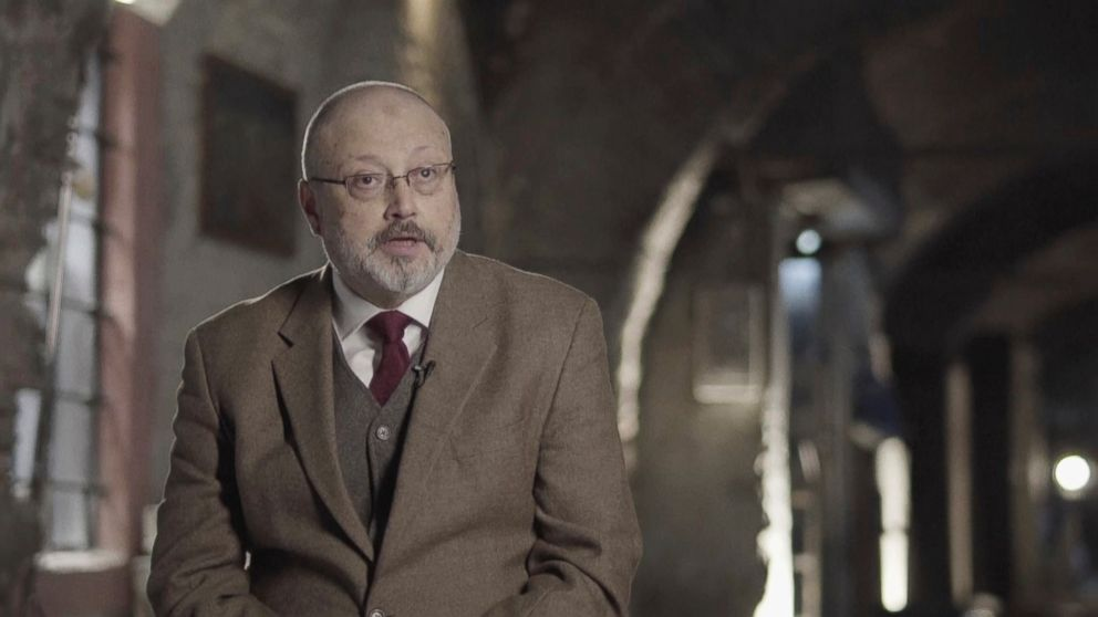 In this image made from a March 2018 video provided by Metafora Production, Jamal Khashoggi speaks during an interview at an undisclosed location.