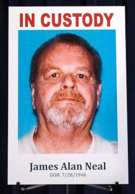 PHOTO: This photo shows a poster of James Neal during a news conference at the Orange County District Attorneys office in Santa Ana, Calif., Feb. 20, 2019.