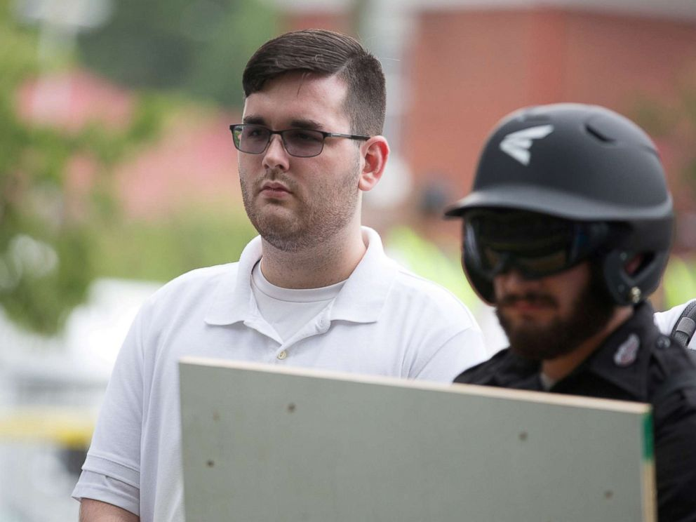 PHOTO: James Alex Fields Jr. is seen attending the Unite the Right rally in Emancipation Park before being arrested by police in Charlottesville, Va., Aug. 12, 2017.