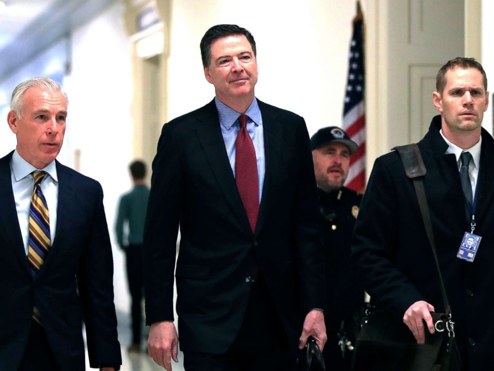 PHOTO: Former FBI Director James Comey, with his attorney, David Kelley, left, arrive to testify under subpoena behind closed doors before the House Judiciary and Oversight Committee on Capitol Hill in Washington, Dec. 7, 2018.