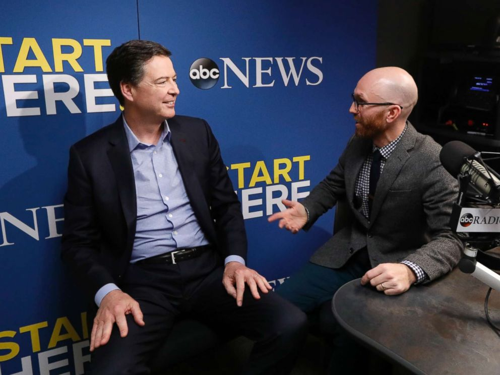 PHOTO: Former FBI Director James Comey speaks to host Brad Mielke on ABC News Start Here podcast on April 17, 2018.