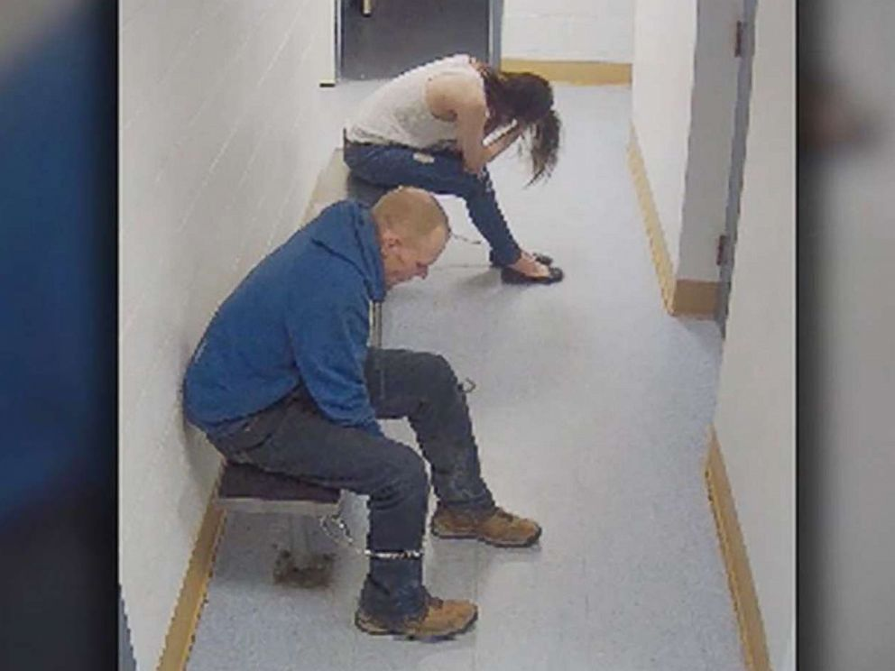 PHOTO: Shopliffting suspect James Hlavsa is seen trying to wiggle out of his handcuffs.