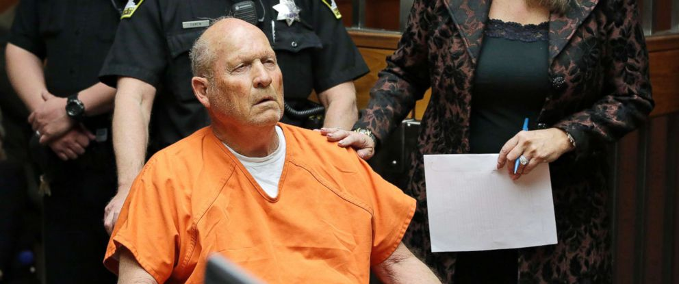 PHOTO: James Joseph DeAngelo, 72, who authorities suspect is the so-called Golden State Killer is accompanied by public defender Diane Howard as he makes his first appearance, April 27, 2018, in Sacramento County Superior Court in Sacramento, Calif.