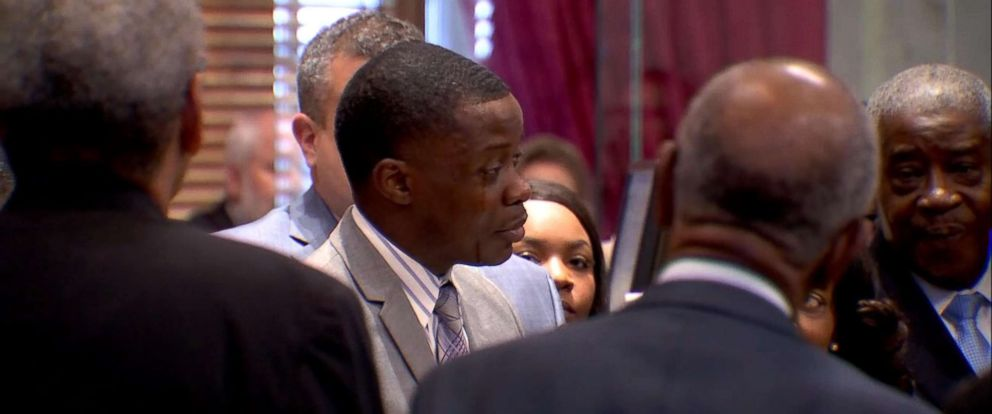 PHOTO: James Shaw Jr. is honored on April 24 by the Tennessee State Legislature for his actions to disarm a shooter at a Waffle House in Nashville, Tenn., April 22, 2018.