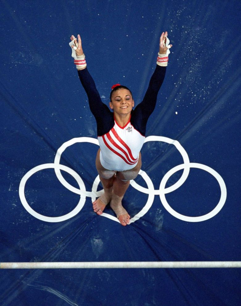PHOTO: Jamie Dantzscher of the United States dismounts from the uneven bars during the Womens Gymnastics competition in the 2000 Olympics held in Sydney, Australia, Sept. 19, 2000.