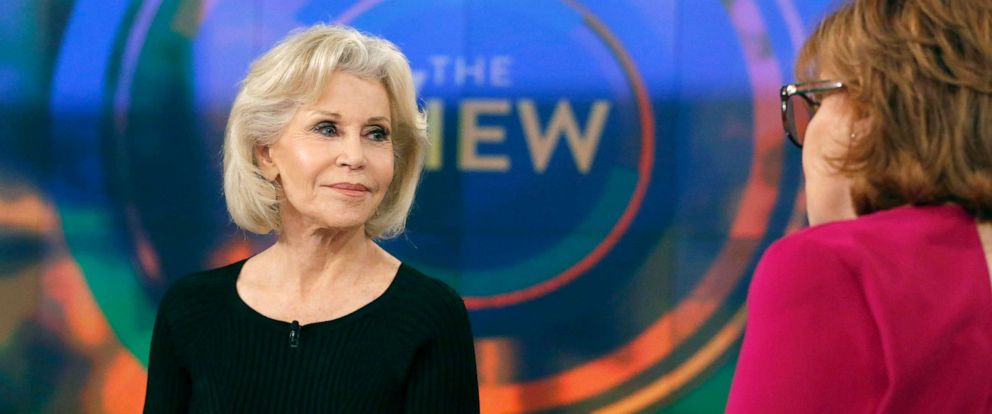 """PHOTO: Actress Jane Fonda discusses her recent activism on Capitol Hill for environmental change during her appearance on """"The View,"""" Nov. 5, 2019."""