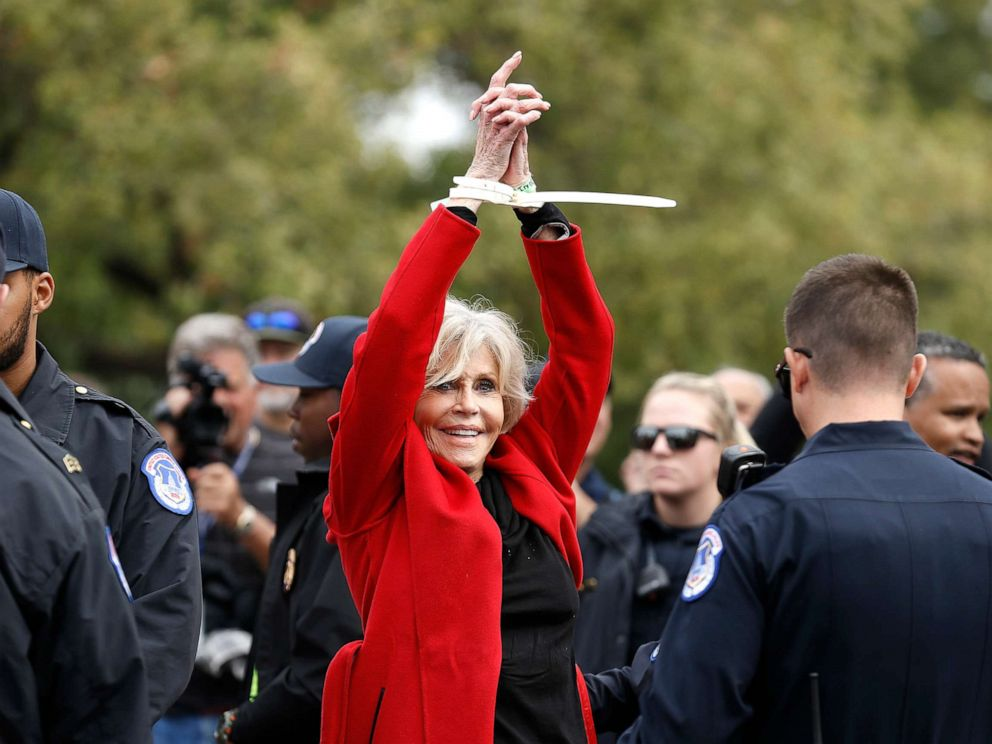 PHOTO: Actress Jane Fonda is arrested during the Fire Drill Friday Climate Change Protest on Oct. 25, 2019, in Washington, D.C.
