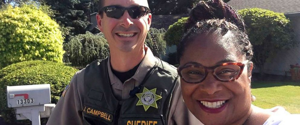 PHOTO: Oregon state Rep. Janelle Bynum poses with a Clackamas County Sheriffs officer after he stopped her in Clackamas, Ore., July 3, 2018.