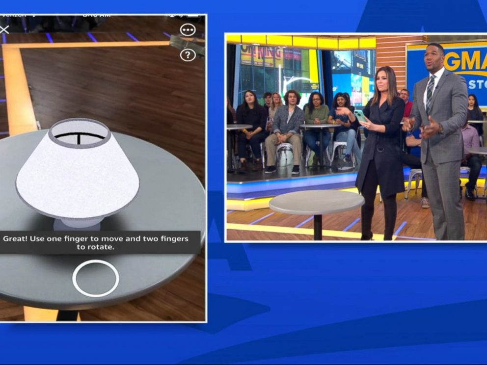 PHOTO: ABC News Rebecca Jarvis and Michael Strahan demonstrate Amazons new augmented-reality shopping tool.