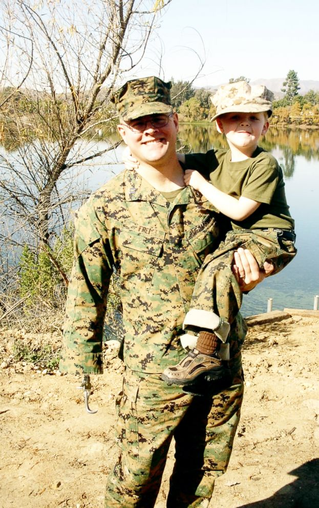 PHOTO: Robbie Frei is seen with his father, Jason Frei, in this undated photo. Robbie Frei was 3 years old in 2003, when Jason Frei, a major in the Marine Corps, was injured during the invasion of Iraq. Jason Frei lost his right arm and hand.