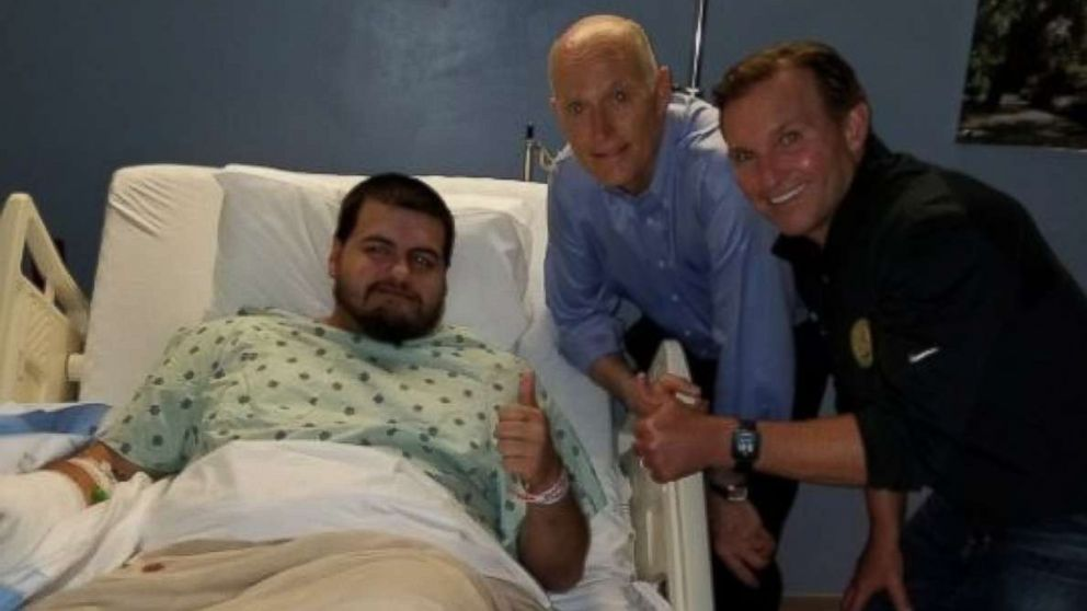 Timothy Anselimo, an esports competitor who goes by oLarry, was shot in the chest at a tournament in Jacksonville, Fla., on Sunday, Aug. 26, 2018. Anselimo was visited by Gov. Rick Scott as he recovers.