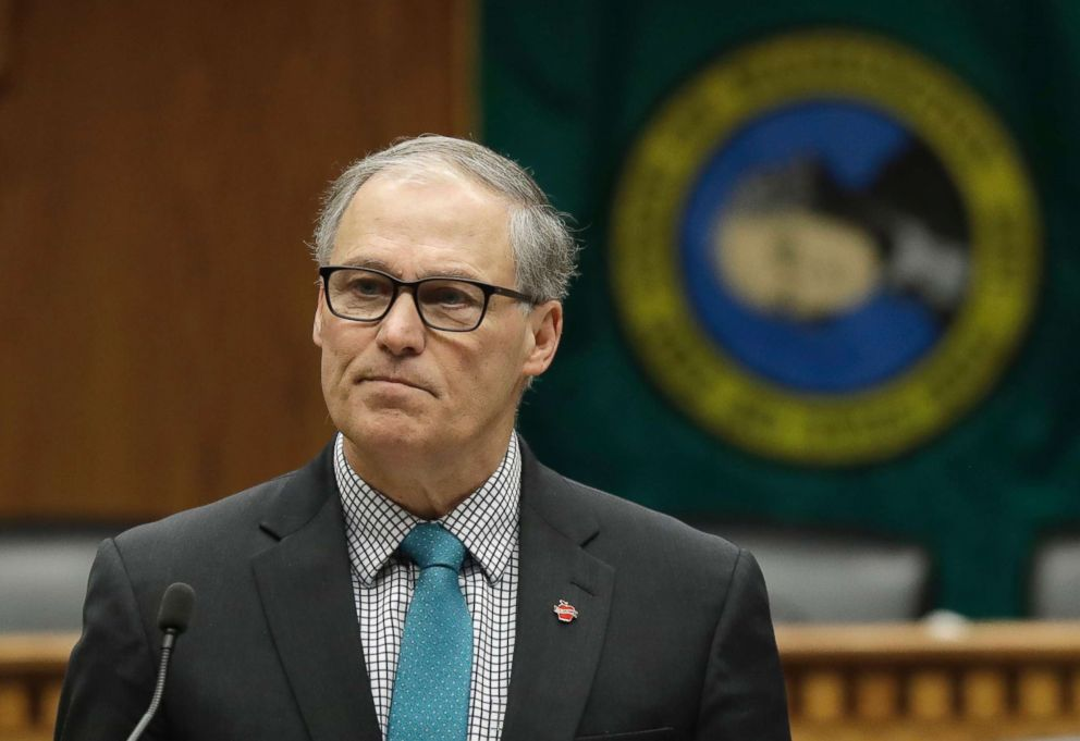 Washington Gov. Jay Inslee speaks during the Associated Press Legislative Preview, Jan. 10, 2019, at the Capitol in Olympia, Wash.
