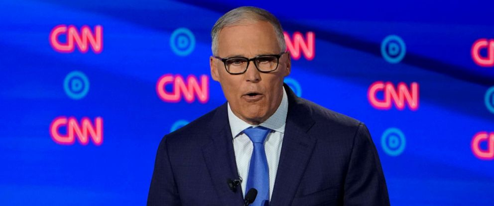 PHOTO: Gov. Jay Inslee of Washington speaks during the second night of Democratic presidential debates in Detroit, July 31, 2019.