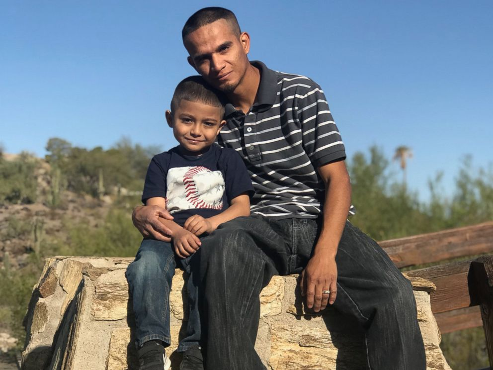 PHOTO: Jesus Berrones with his son, Jayden Berrones, 5 years old, Feb. 2018.