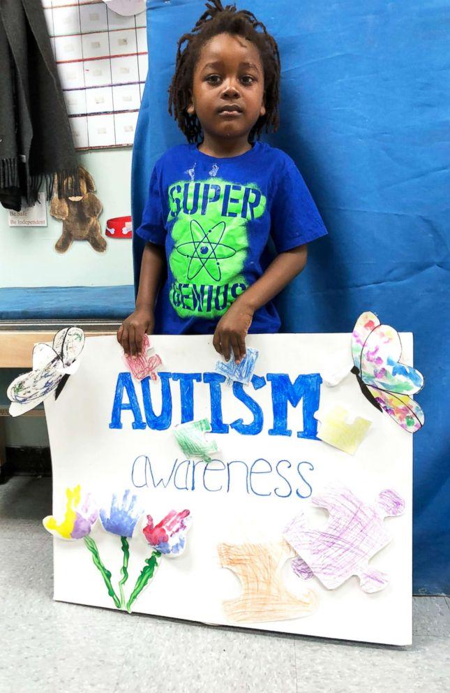 PHOTO: Jayden Okungu attends an Autism Awareness event at his preschool.