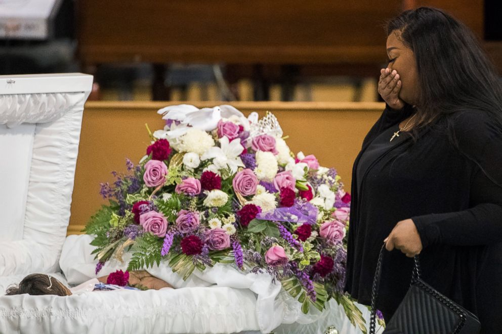 PHOTO: A mourner approaches the casket of Jazmine Barnes during a viewing ceremony before the memorial services on Tuesday, Jan. 8, 2019, at the Community of Faith Church in Houston.