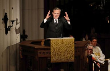 PHOTO: Former Florida Governor Jeb Bush speaks during a funeral service for his mother, former first lady Barbara Bush at St. Martins Episcopal Church, April 21, 2018, in Houston.