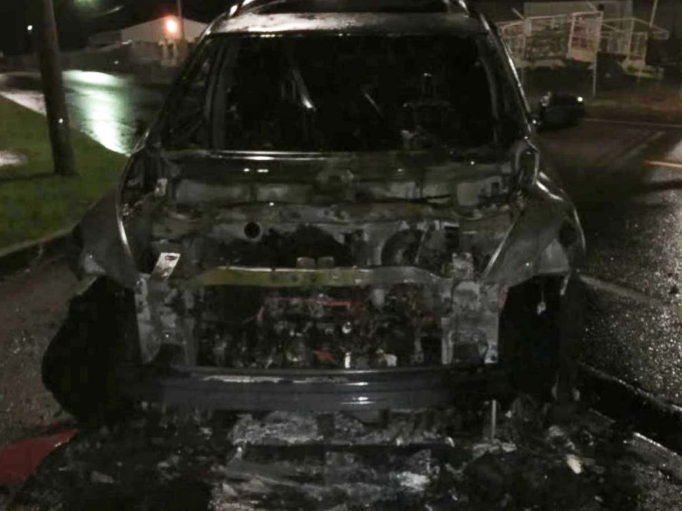 PHOTO: A Tacoma, Washington, soldier's new 2018 Jeep Cherokee Trailhawk erupted in flames, Jan. 27, 2018.