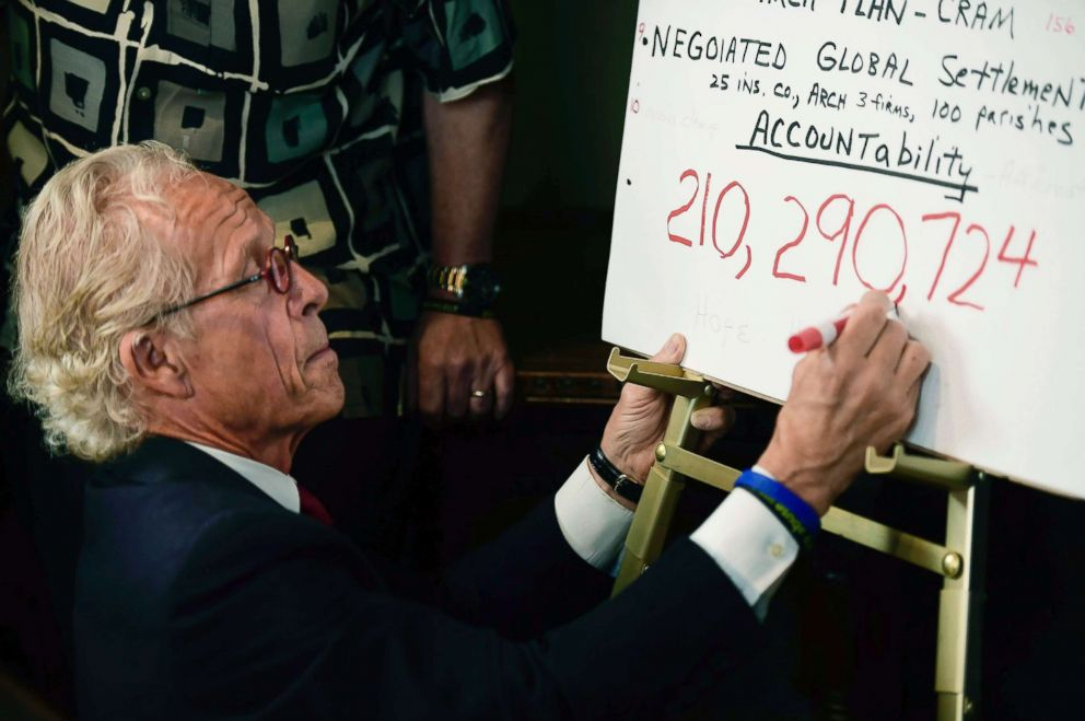 PHOTO: Attorney Jeff Anderson draws a comma while writing down the sum of the settlement reached between the Archdiocese of St. Paul and Minneapolis and clergy sexual abuse victims at his office, May 31, 2018, in St. Paul, Minn.