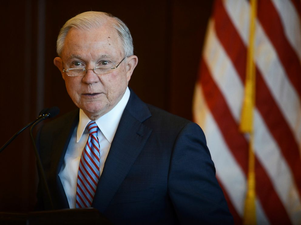 PHOTO: U.S. Attorney General Jeff Sessions speaks on immigration policy and law enforcement actions at Lackawanna College in downtown Scranton, Pa., June 15, 2018.