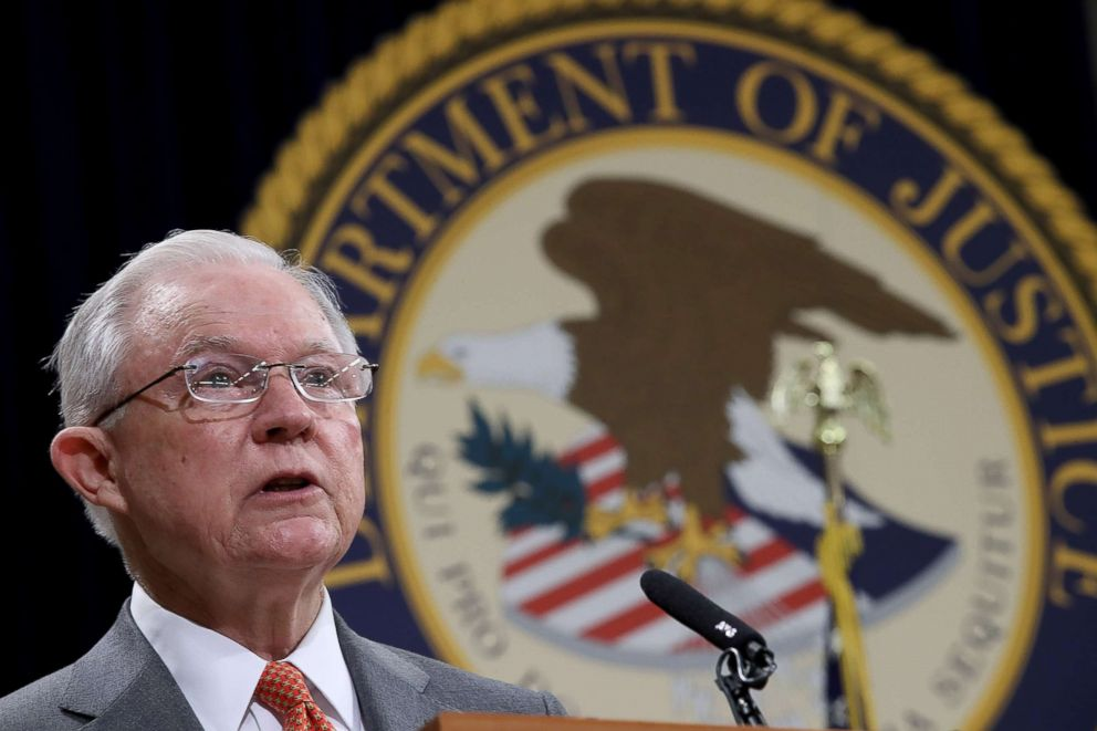 PHOTO: U.S. Attorney General Jeff Sessions speaks at the Religious Liberty Summit at the Department of Justice, July 30, 2018, in Washington, DC.