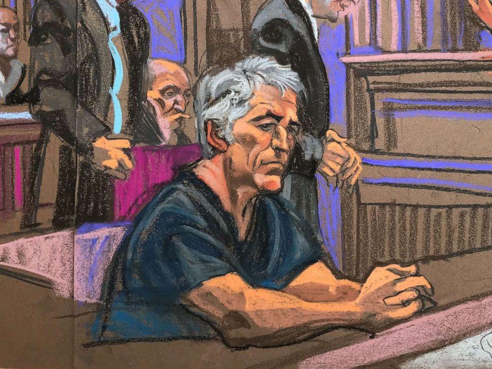 PHOTO: A courtroom sketch depicts billionaire financier Jeffrey Epstein in federal court in Manhattan on July 8, 2019.