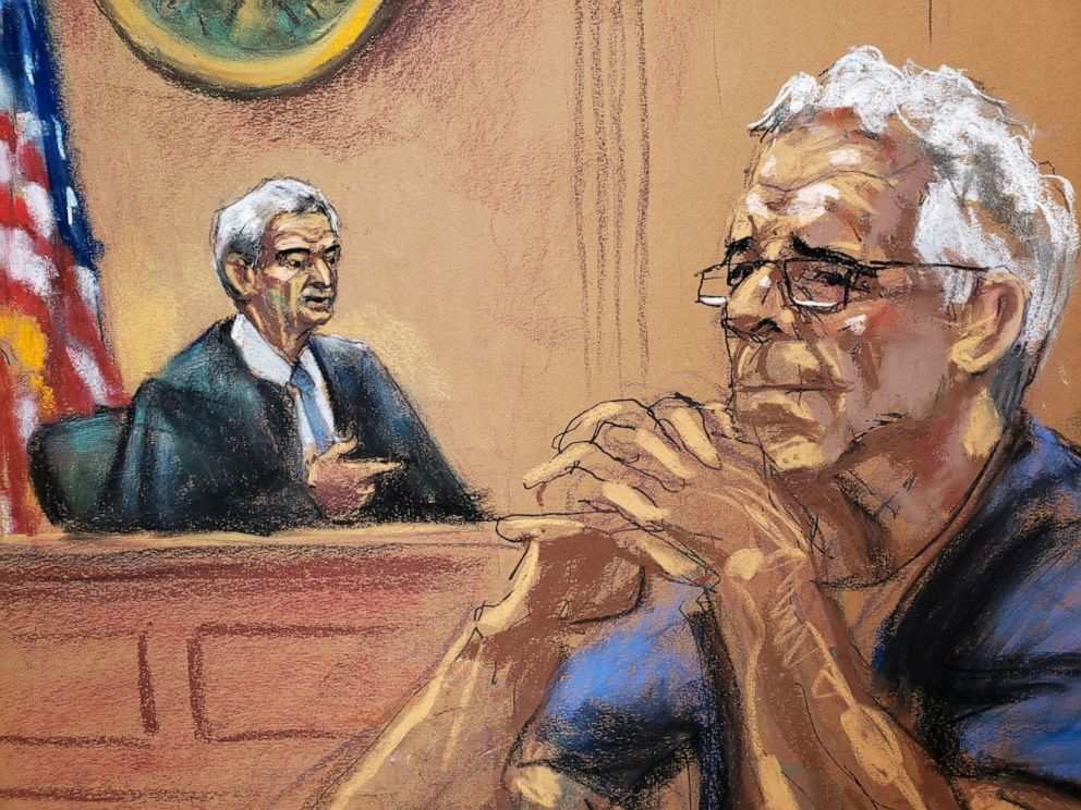 PHOTO: Financier Jeffrey Epstein looks on near Judge Richard Berman during a status hearing in his sex trafficking case, in this court sketch in New York, July 31, 2019