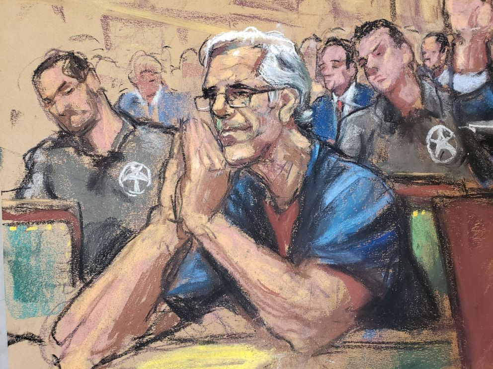 PHOTO: Jeffrey Epstein looks on during a bail hearing in his sex trafficking case, in this court sketch in New York, July 15, 2019.