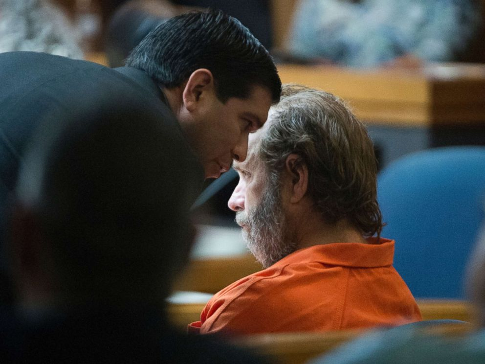 PHOTO: Schlitterbahn co-owner Jeffrey Wayne Henry listens to a member of his counsel during an extradition hearing Wednesday, March 28, 2018, in the 107th state District Courtroom in Brownsville, Texas.