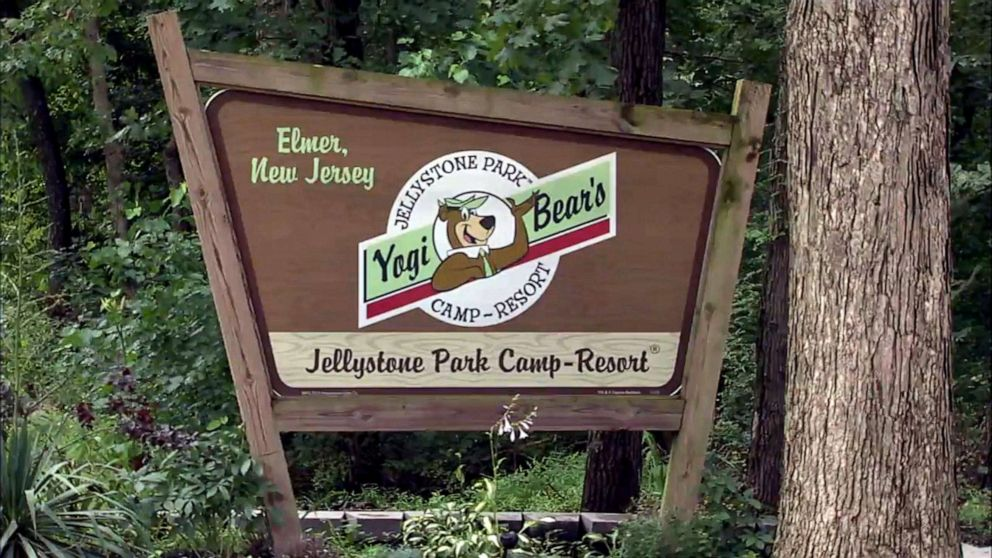 PHOTO: A sign for Yogi Bear Jellystone Park in Elmer, N.J. where a 3-year-old was struck by a tree branch, July 6, 2019.