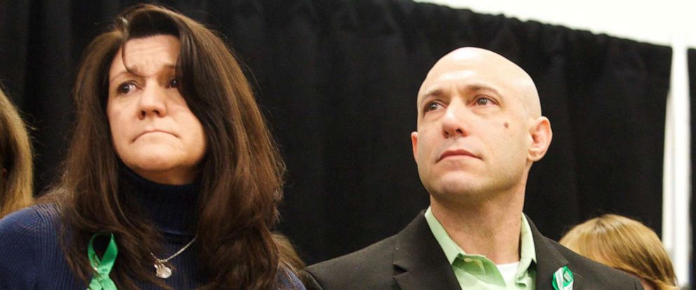 Jennifer Hensel and Jeremy Richman, the parents of Avielle Richman, the father of Benjamin Wheeler, 6, victims of the Dec. 14, 2012 shooting at Sandy Hook Elementary School, attend the launch of The Sandy Hook Promise in Newtown, Conn., Jan. 14, 2013.