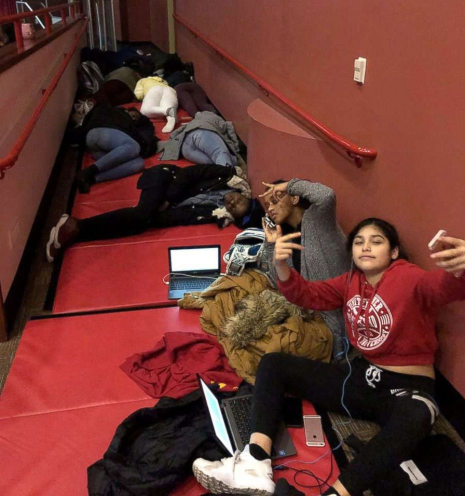 PHOTO: Students made use of the gym mats at Liberty Middle School in West Orange, New Jersey, Nov. 15, 2018 after some students spent the night during a snow storm.